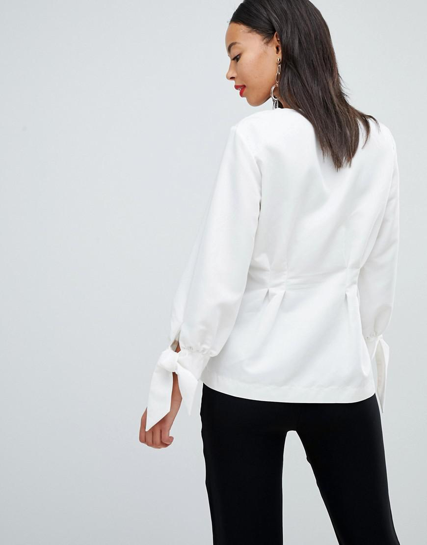 424a59331d4e08 Lyst - Y.A.S Blouse With Gathered Waist And Balloon Sleeves in White