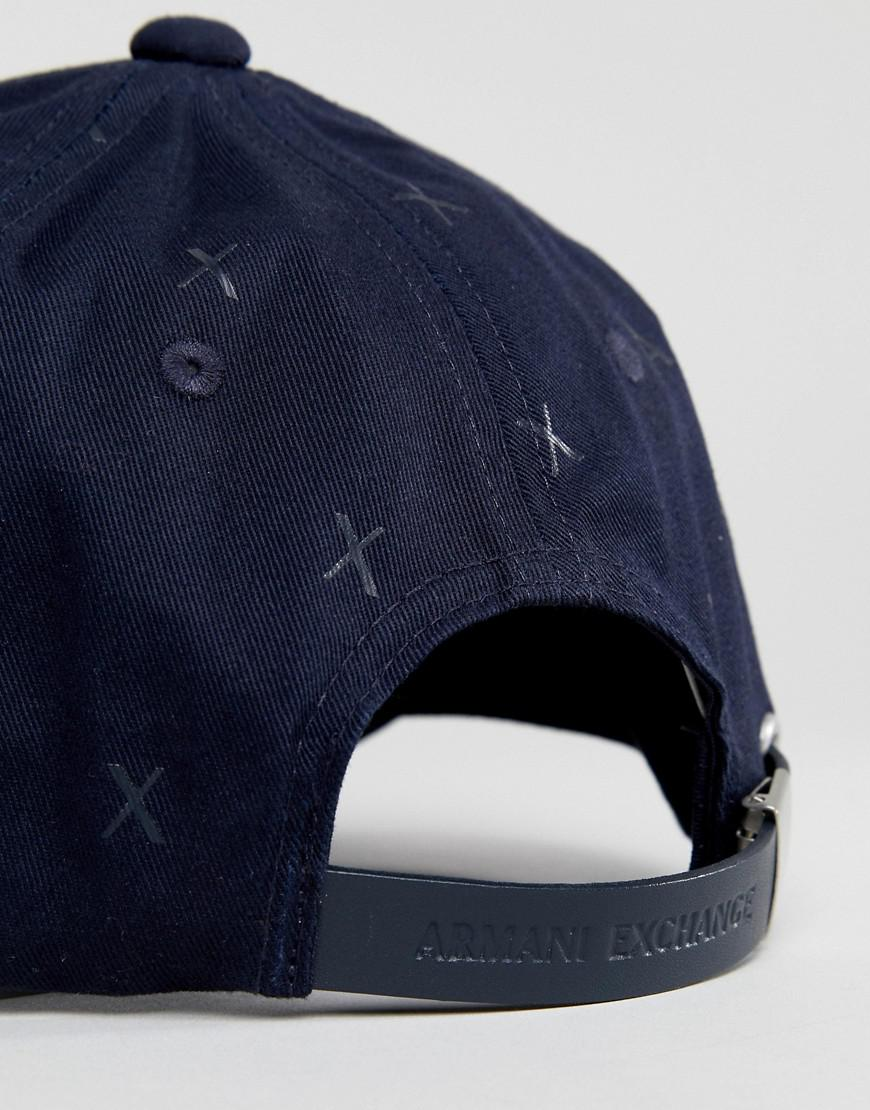 Baseball Cap All Logo In Exchange Ax Navy Blue Over Armani Lyst wpPRYY