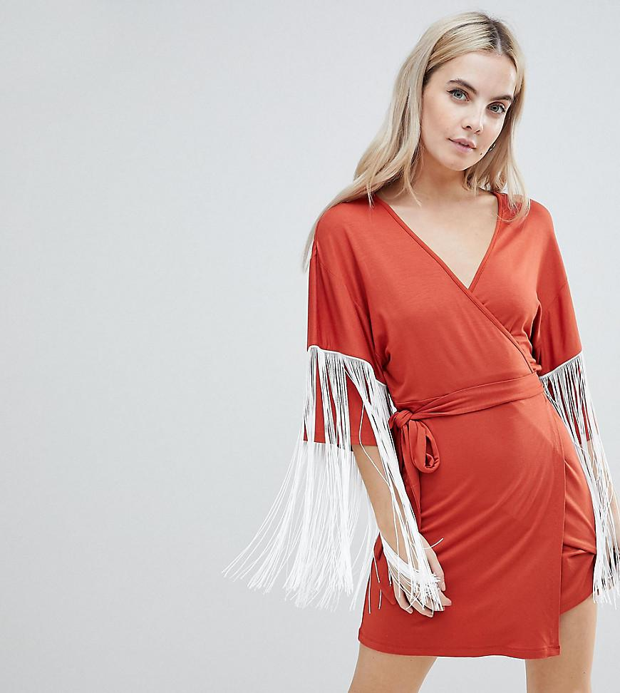 84b151d301 Lyst - ASOS Kimono Mini Wrap Dress With Fringing in Red