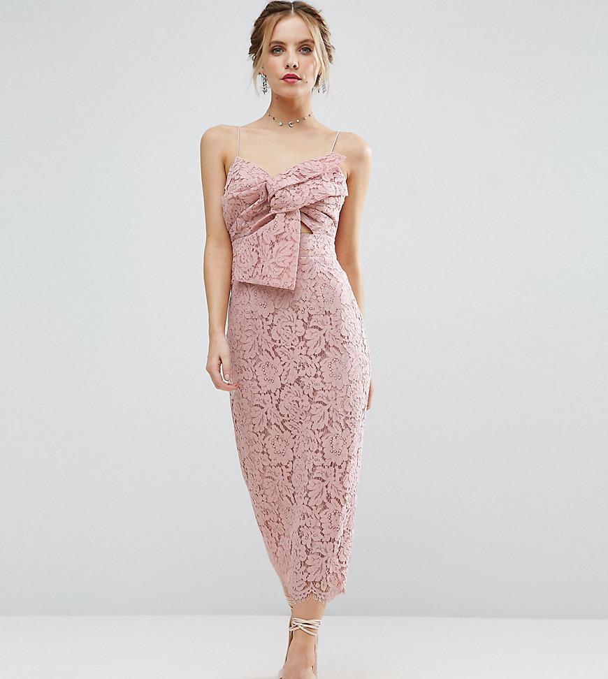 Lyst - Asos Lace Cami Bow Front Midi Pencil Dress in Natural
