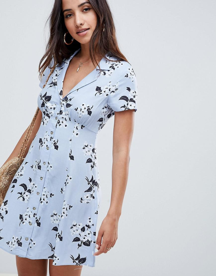 25fe440888d Lyst - ASOS Button Through Casual Skater Mini Dress In Floral in Blue
