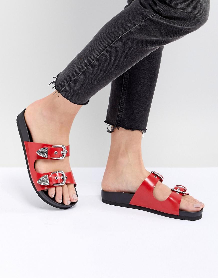 Monki Sandale Curseur Sangle Ouest - Rouge YNgnv7