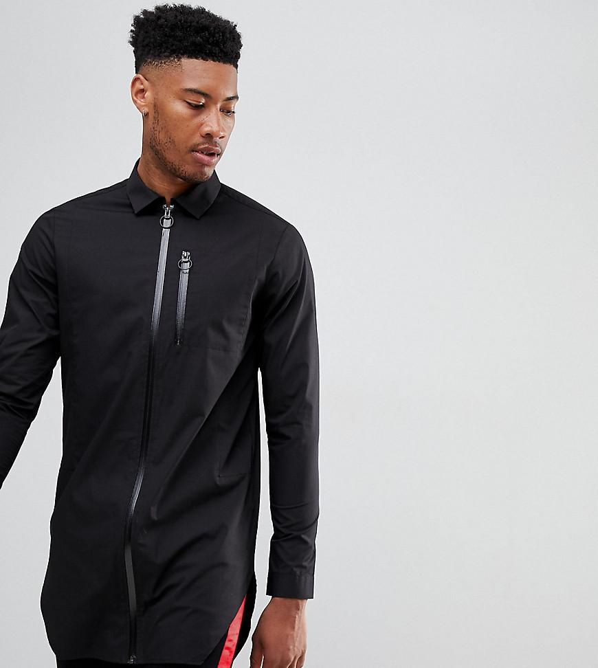 DESIGN Longline Shirt With Taped Zips - Black Asos Buy Cheap With Paypal Discount Release Dates Cheap Very Cheap S6Fz1aDt48