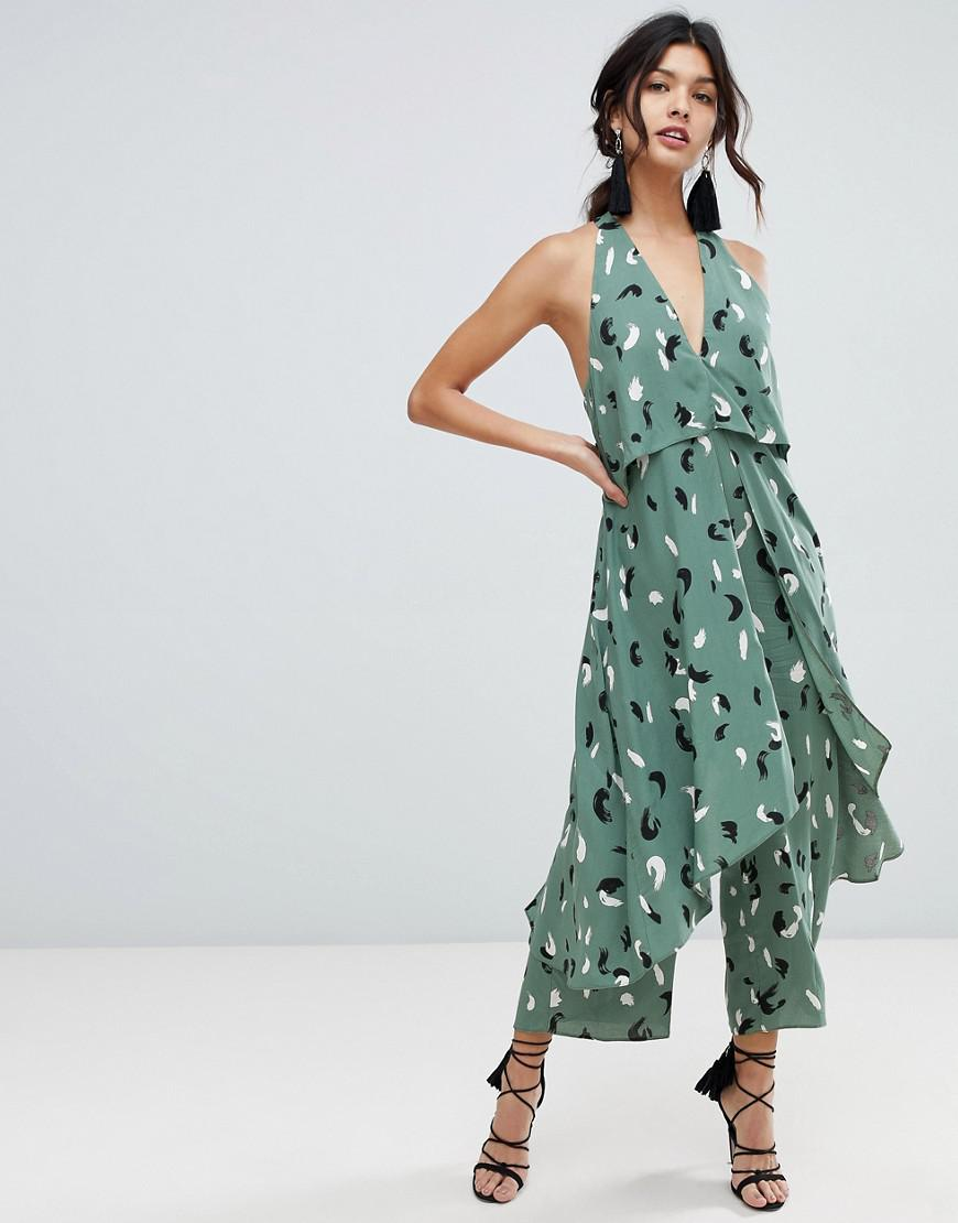2d251e2bed ASOS Jumpsuit With Multi Layers In Linen Look And Brushstroke Print ...