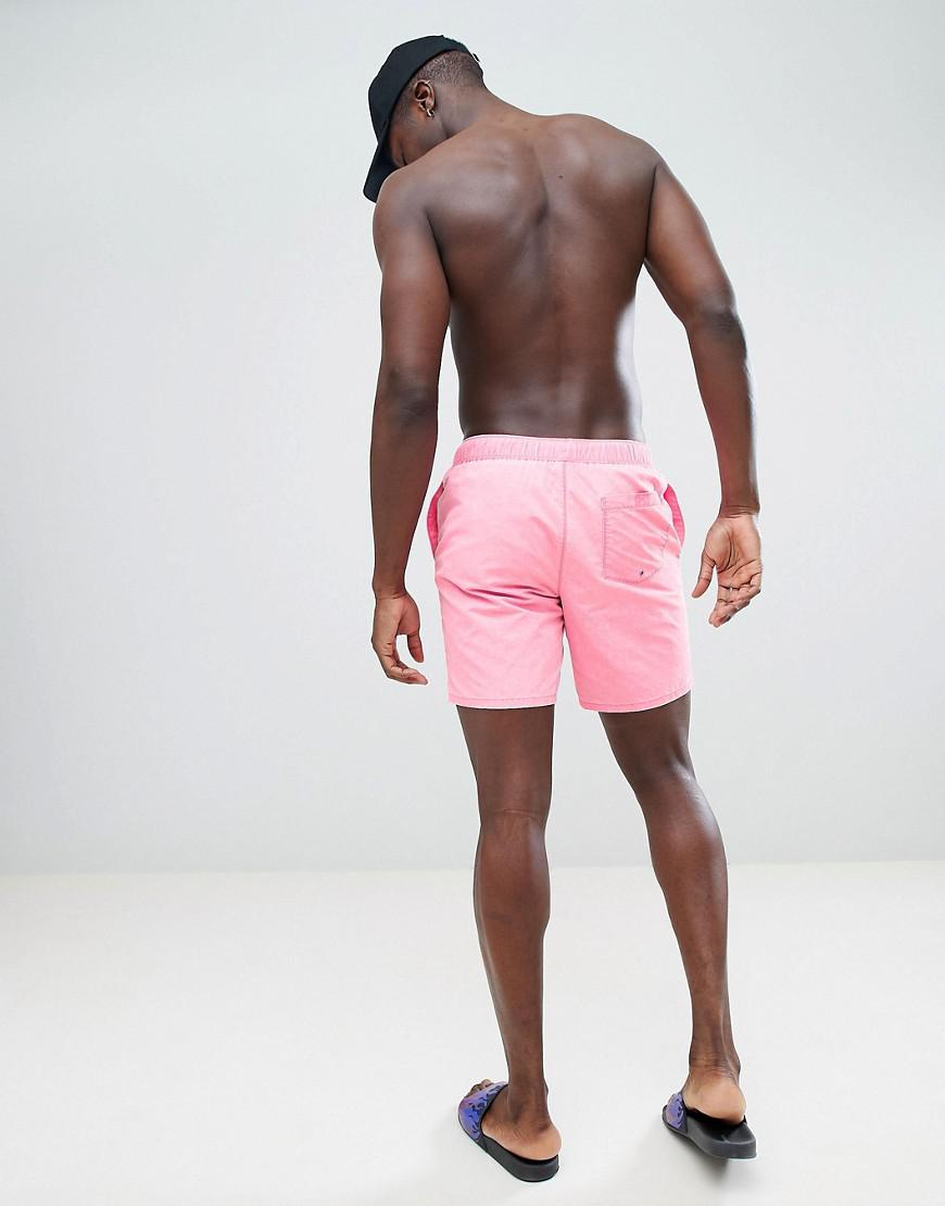 Amazon DESIGN Swim Shorts In Neon Pink Acid Wash With Neon Drawcord In Mid Length - Pink Asos Discount High Quality Low Price Cheap Price Cheap Sale Many Kinds Of fGToT