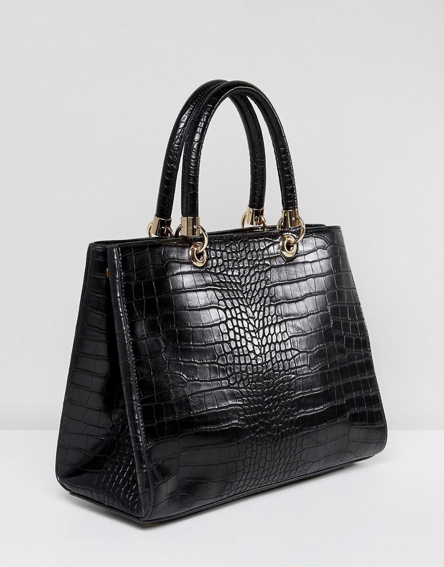 9a461ae1f675 Carvela Kurt Geiger Darla Mock Croc Structured Tote Bag in Black - Lyst