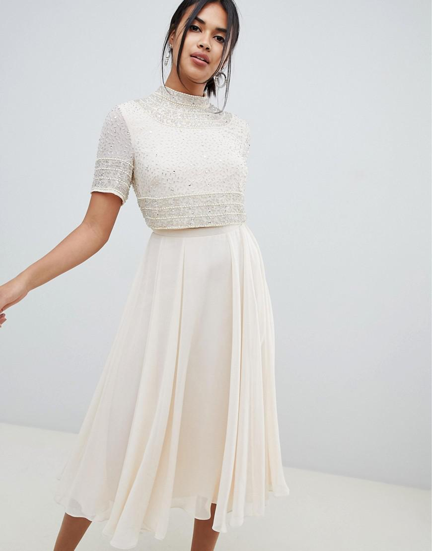 6b5ffe9356cb1d ASOS. Women s Midi Dress With High Neck Crop Top In Delicate Embellishment