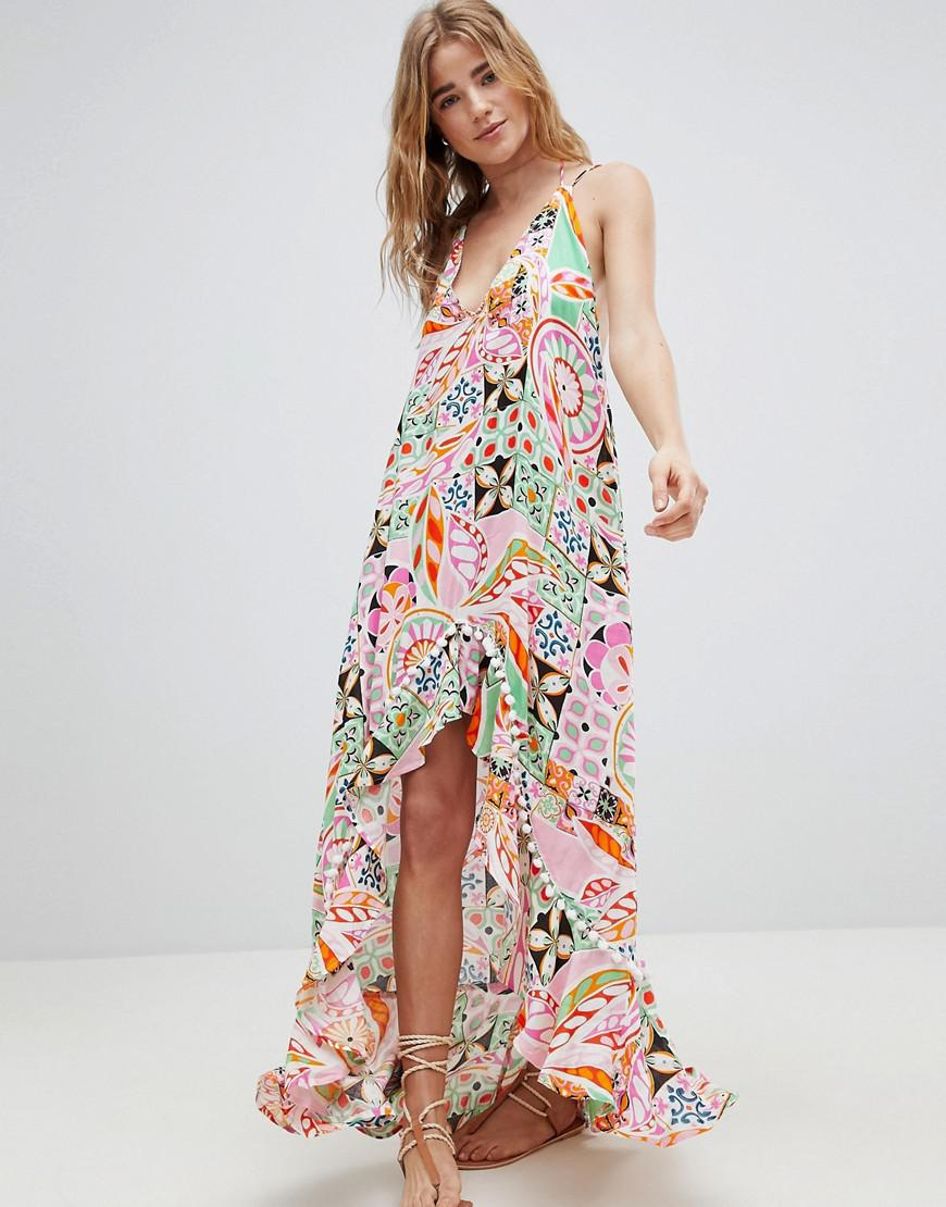 38d6469039 ASOS New Retro Print Pom Pom Trim High Low Hem Maxi Beach Dress - Lyst