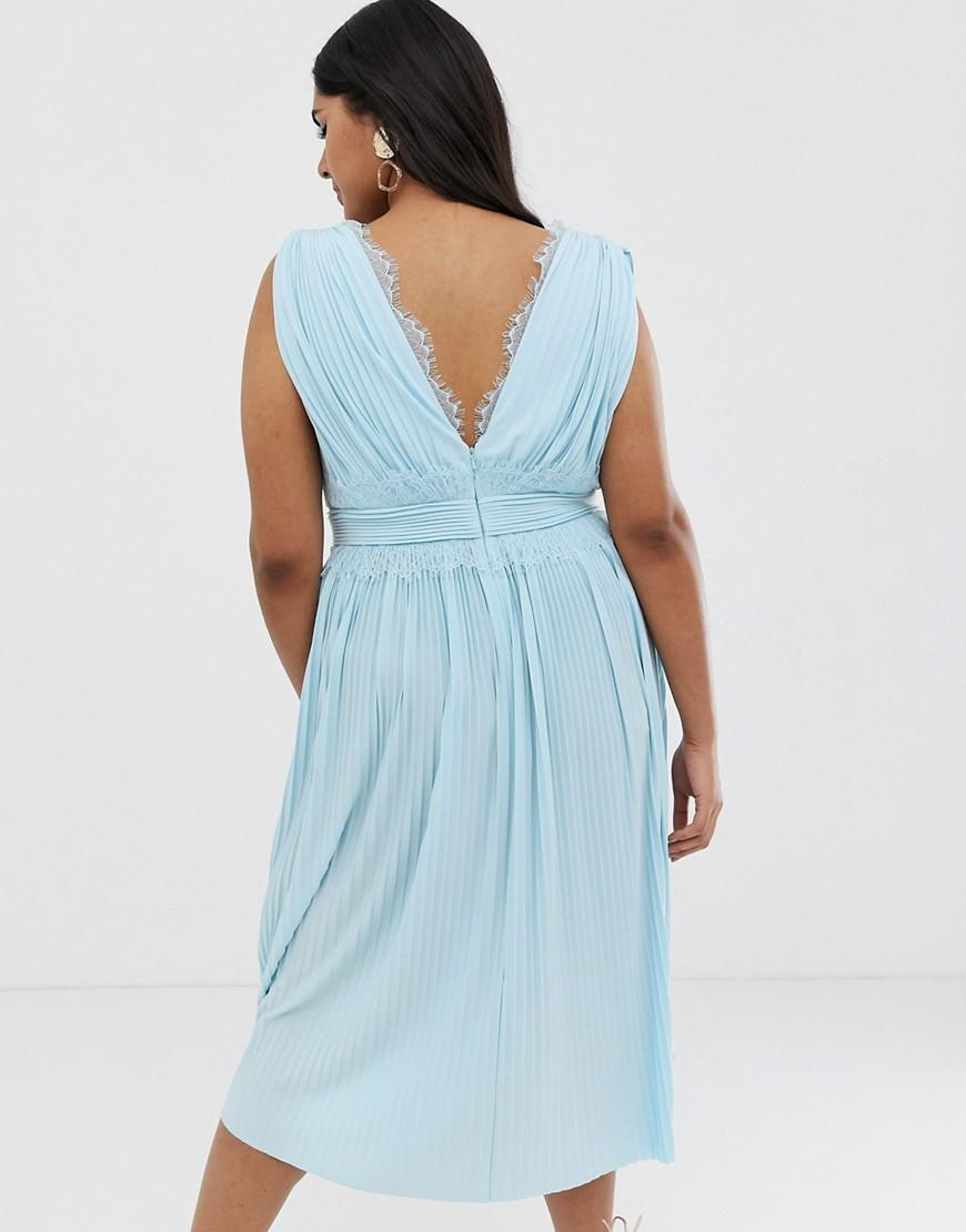 4fa79185a46684 ASOS Asos Design Curve Premium Lace Insert Pleated Midi Dress in Blue - Lyst