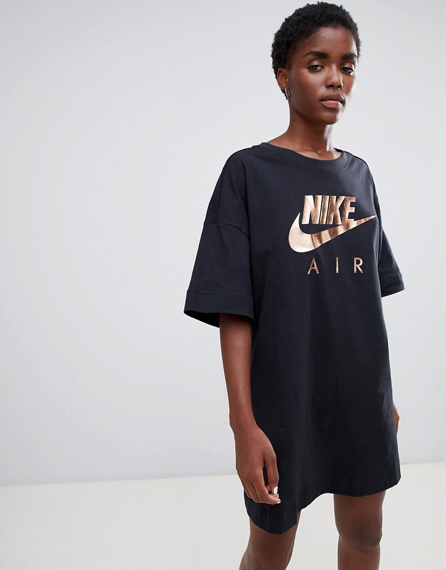 Nike Air Black Contrast Logo T Shirt Dress In Black Lyst