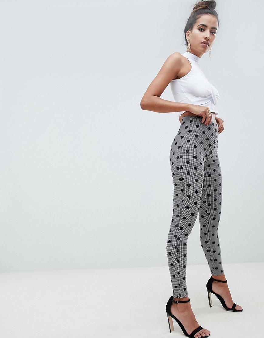 877c34337bfef Lyst - ASOS leggings In Houndstooth Check With Polka Dot