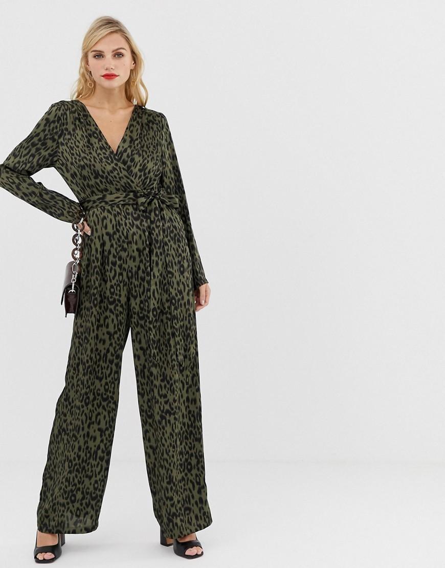 c930225bba Liquorish Wrap Front Jumpsuit In Leopard Print With Tie Belt in ...