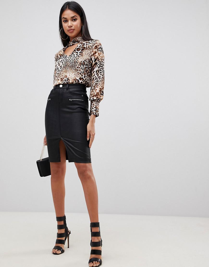 0f03402c8 Lipsy Coated Pencil Skirt In Black in Black - Lyst
