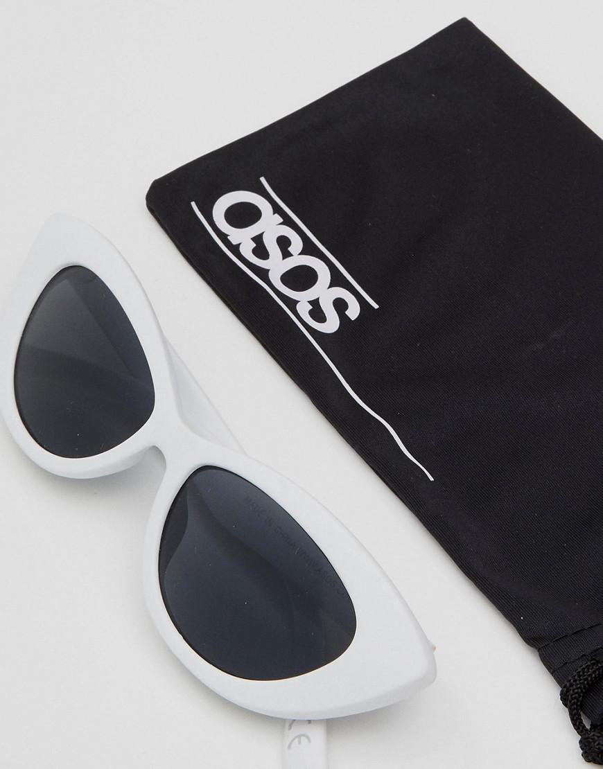 dd926449d20 ASOS Asos Small Pointy Cat Eye Sunglasses in White - Lyst