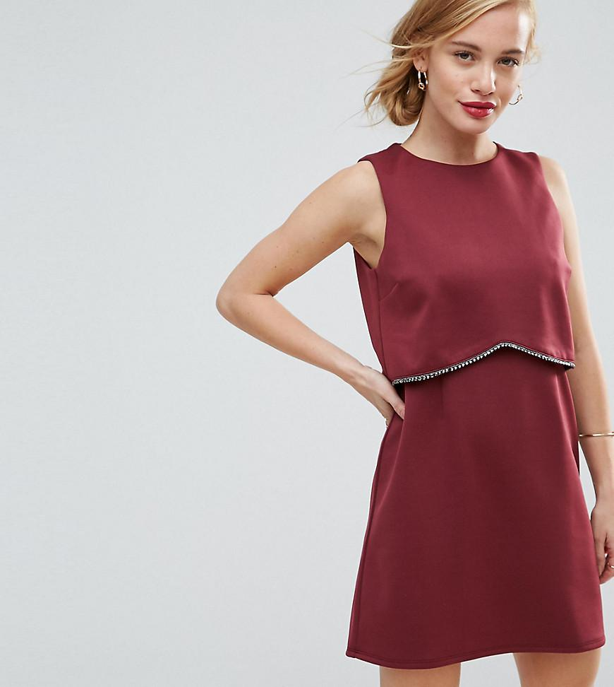 How Much Online Scuba Crop Top with Embellished Trim Mini Dress - Burgundy Asos Petite Best Prices Cheap Online Cheap Low Price aDqFK
