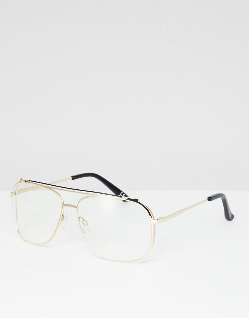 87d5022f56 Lyst - ASOS Navigator Glasses In Gold Metal With Clear Lens in ...