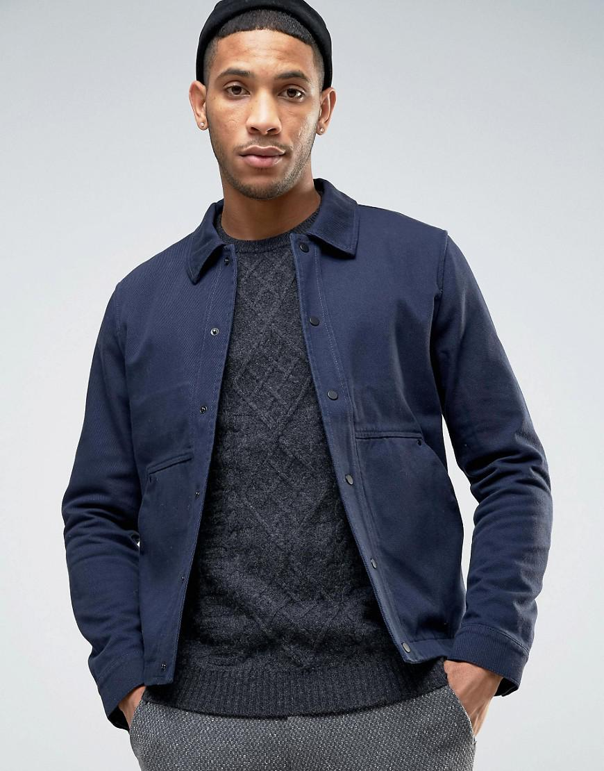 lyst selected harrington jacket in twill in blue for men. Black Bedroom Furniture Sets. Home Design Ideas