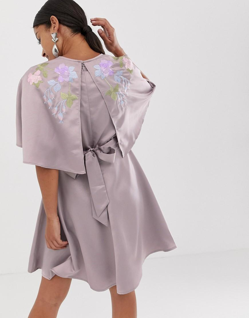 c5b18e51b7d Lyst - ASOS Asos Design Maternity Cape Sleeve Embroidered Mini Dress in  Purple