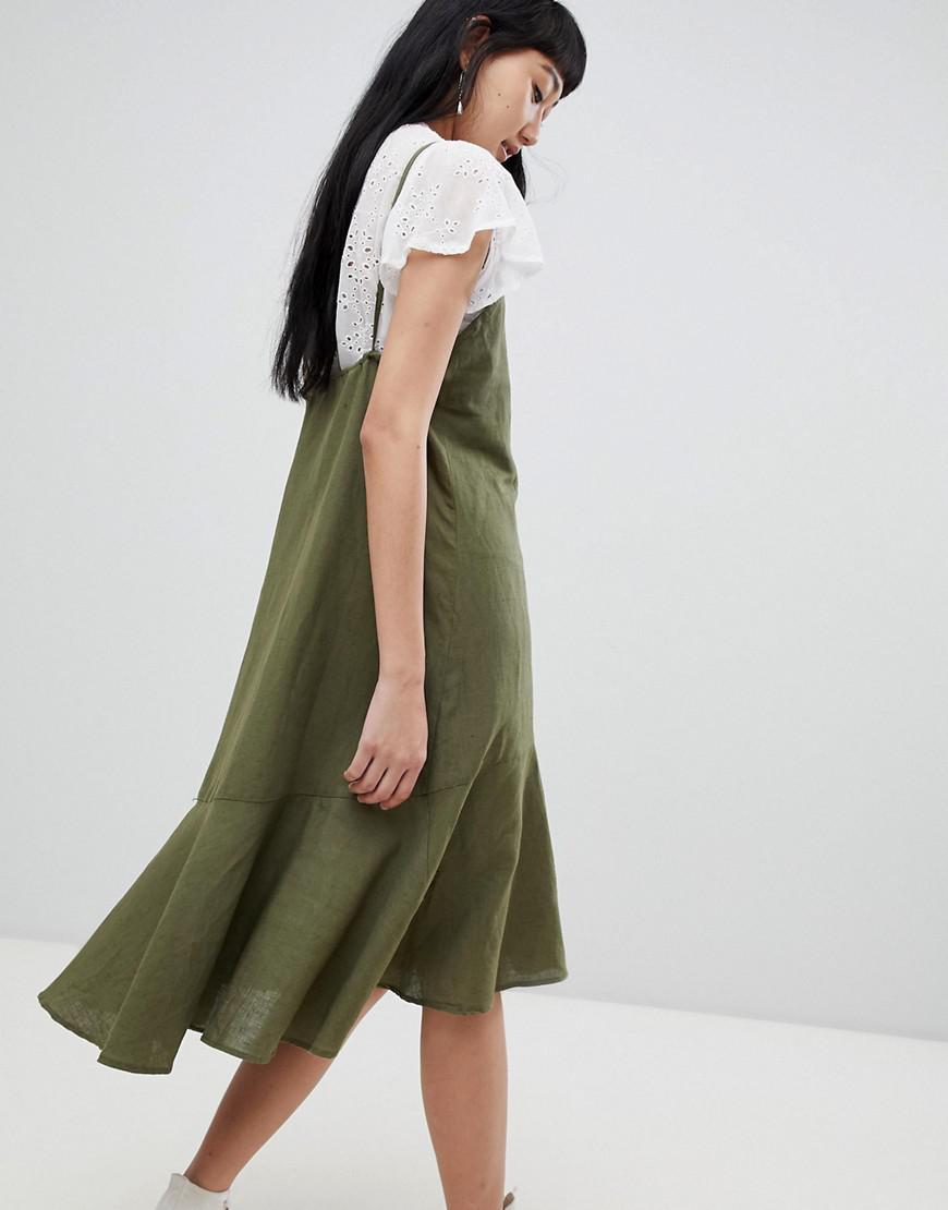 6d589044846 Lyst - Pull Bear Cami Linen Dress In Khaki in Green