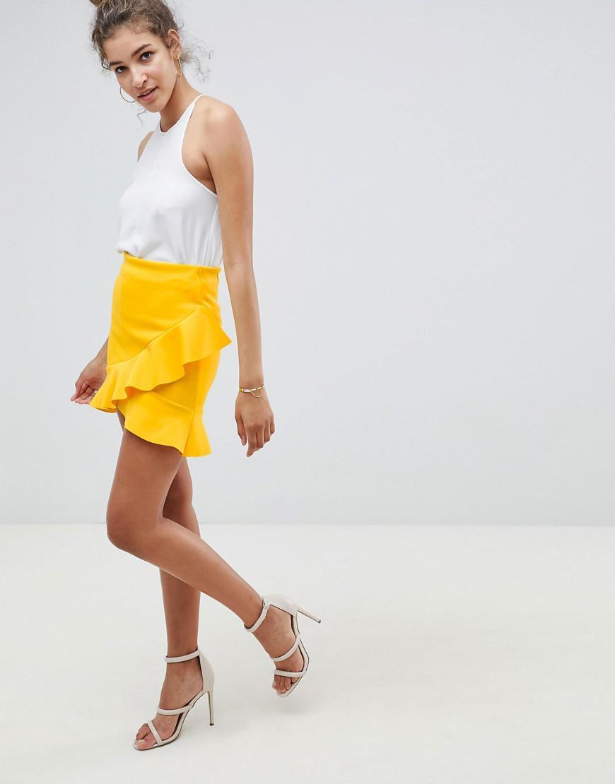 Cheap Sale Cheap ASOS DESIGN mini skirt with frill hem in colourblock scuba 2018 Cheap Online Buy Cheap Newest tWmcZyz