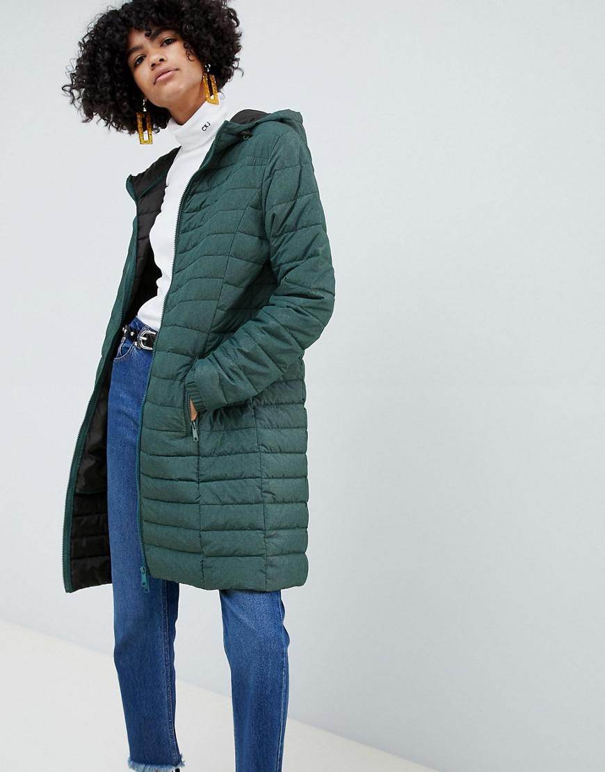 10361d201d4ca8 B.Young Longline Padded Coat in Green - Lyst