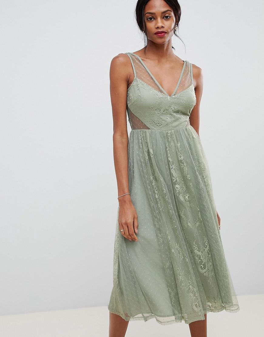 cbbf607589 Lyst - ASOS Vintage Midi Dress In Delicate Dobby And Lace Mix in Green