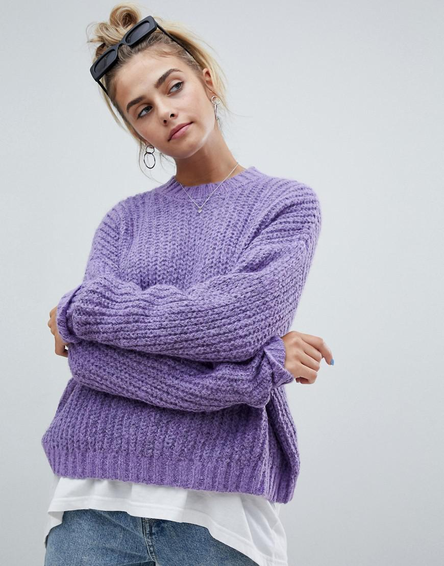 Lyst - Bershka Loose Fit Jersey Knitted Sweater in Purple 6b944e3d2