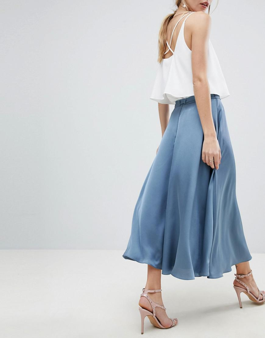1c2aef141a ASOS Asos Satin Midi Skirt With Self Belt in Blue - Lyst