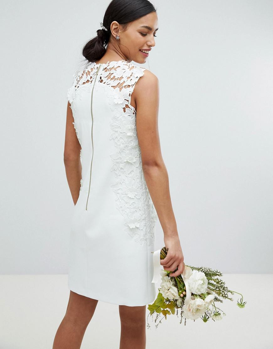 12b3bcd98d625b Lyst Ted Baker Tie The Knot Tunic Dress With Lique Lace In Blue