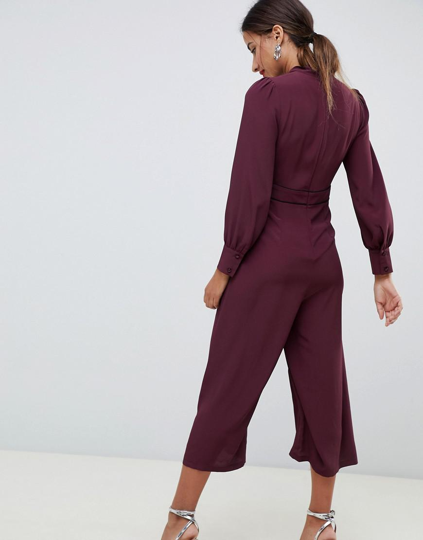64d8608da887 Lyst - ASOS Tea Jumpsuit With Tie Neck And Piping in Purple