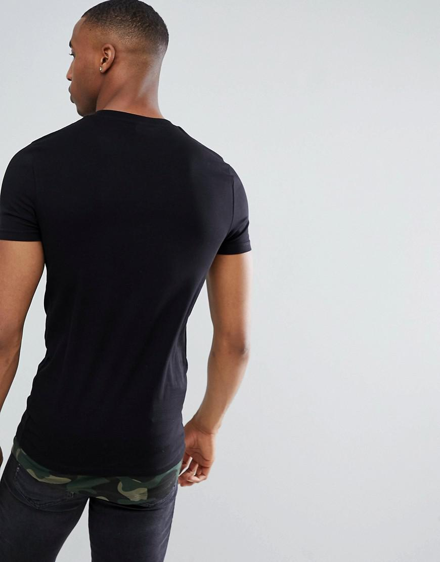 396643d4 ASOS Super Longline Muscle Fit T-shirt With Camo Curved Hem Extender &  Printed Pocket in Black for Men - Lyst