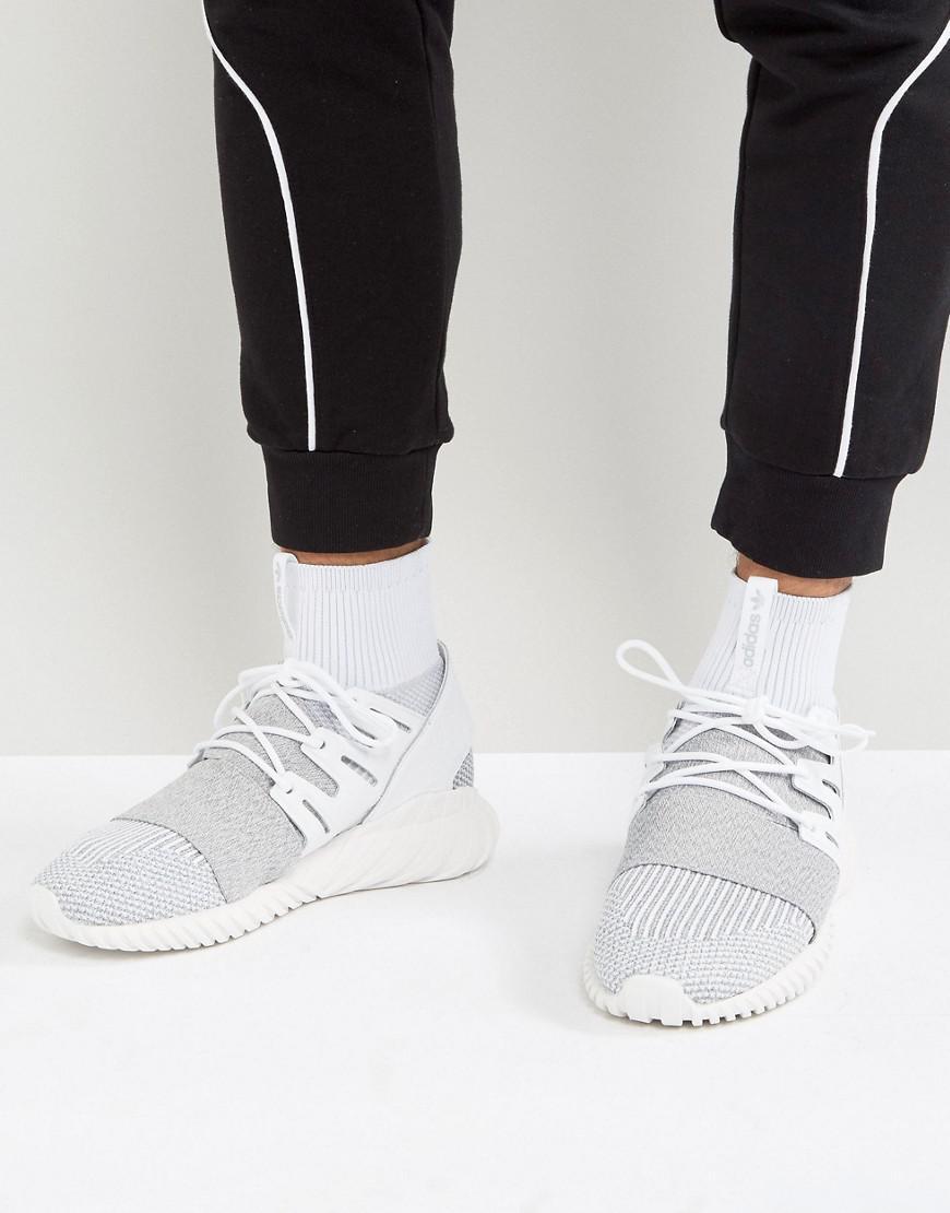 Adidas Originals Gray Tubular Doom Primeknit Trainers In Grey By3553 for men