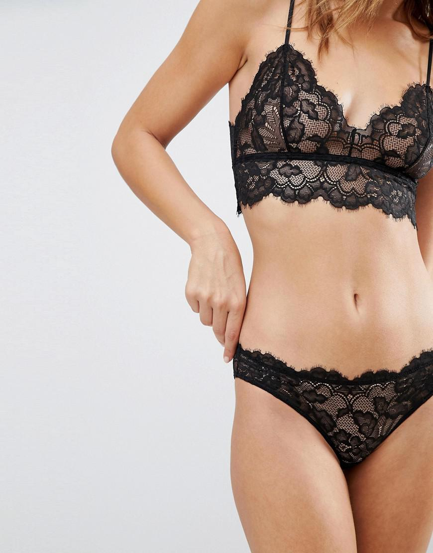 Weekday Lace Crop Soft Bra in Black - Save 67% - Lyst 6ea4a5102