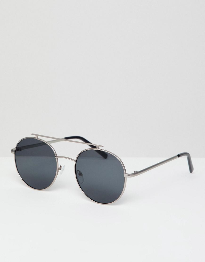 84d2549c5a A.J. Morgan Round Double Brow Sunglasses In Silver in Metallic for ...