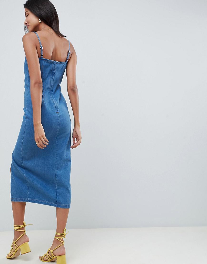 aff79d49df Lyst - ASOS Asos Design Tall Denim Button Side Midi Dress In Midwash Blue  in Blue