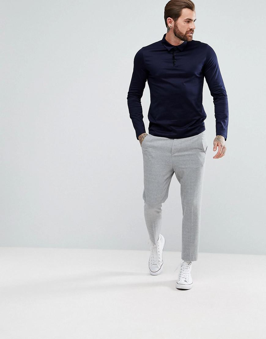 9a2936fdc HUGO Demons Slim Fit Mercerised Long Sleeve Polo Shirt In Navy in ...