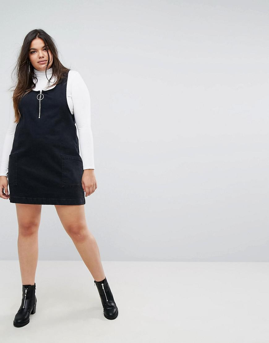purchase original wholesale limited style Simply Be Black Zip Detail Denim Pinafore Dress