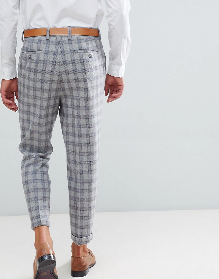 4d53cb4772fe Lyst - ASOS Tapered Smart Pants In Gray Check in Gray for Men