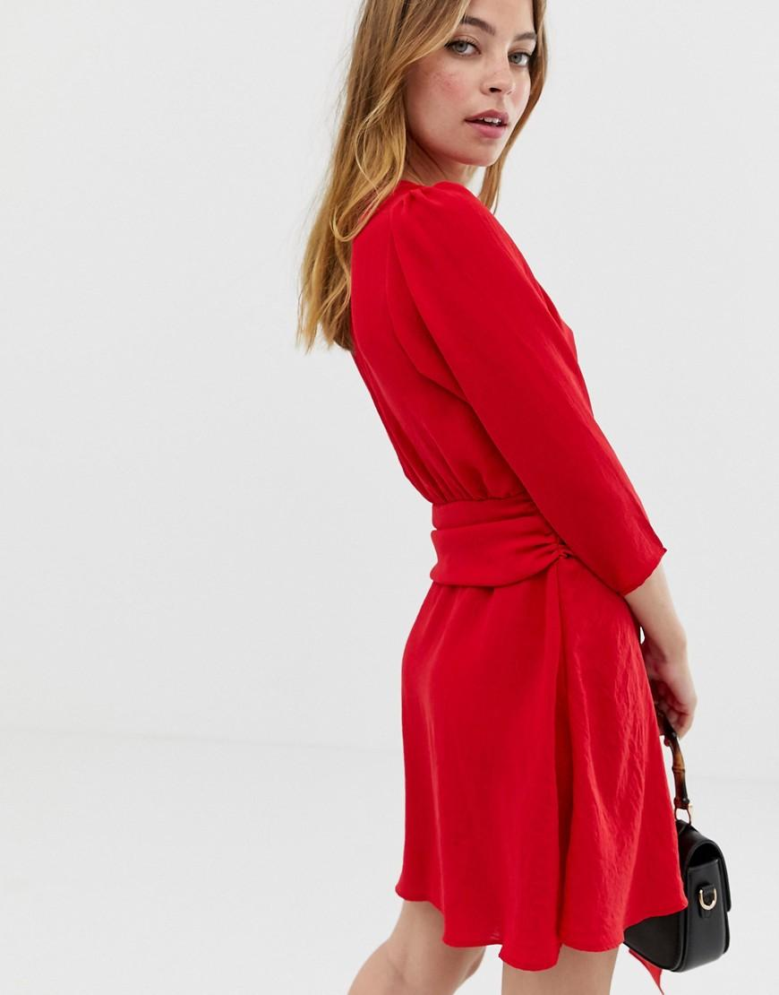 90f5ff039 ASOS Asos Design Petite Wrap Mini Dress With Ruched Skirt in Red - Lyst