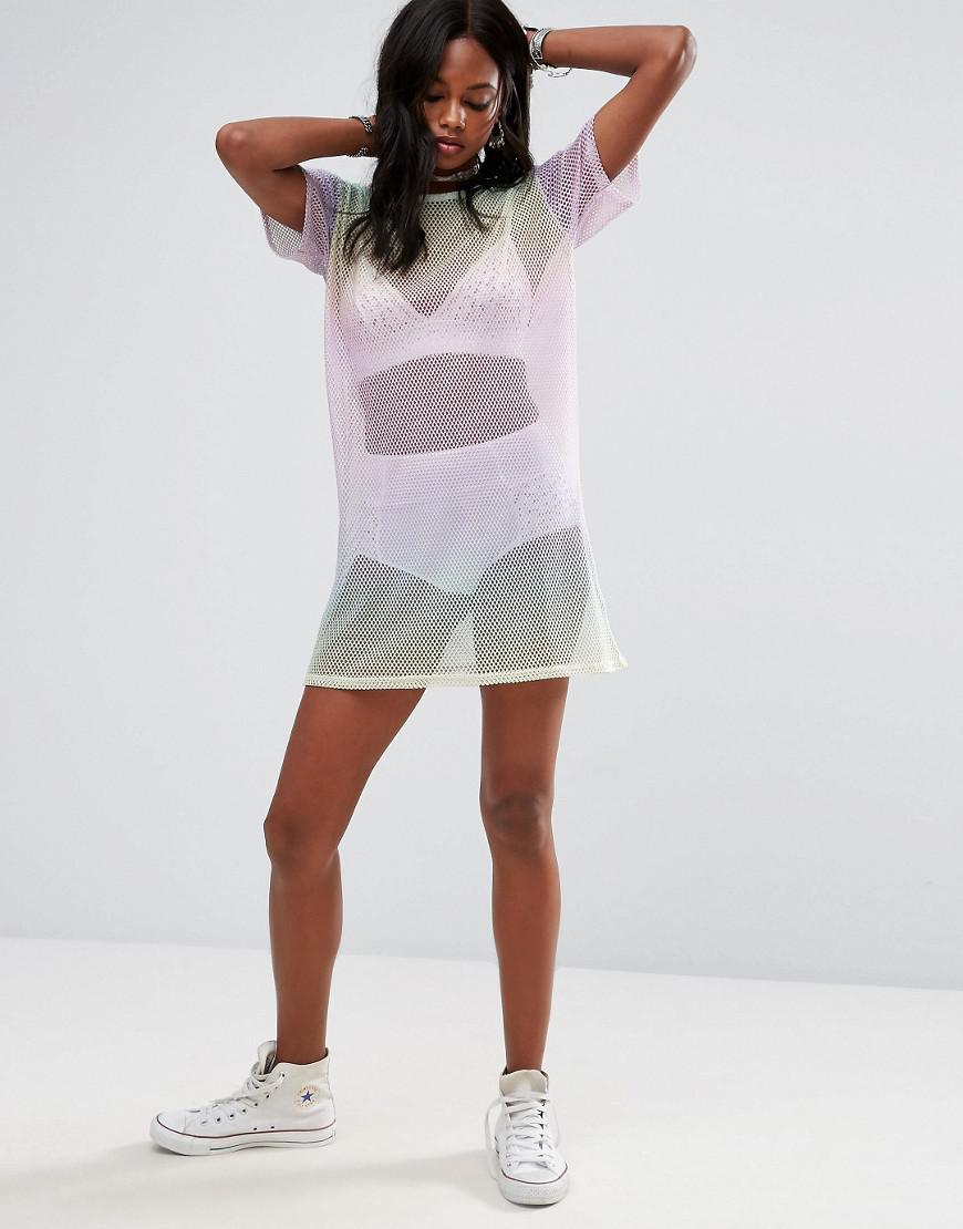 591955758a2 Lyst - Missguided Rainbow Fishnet T-shirt Dress