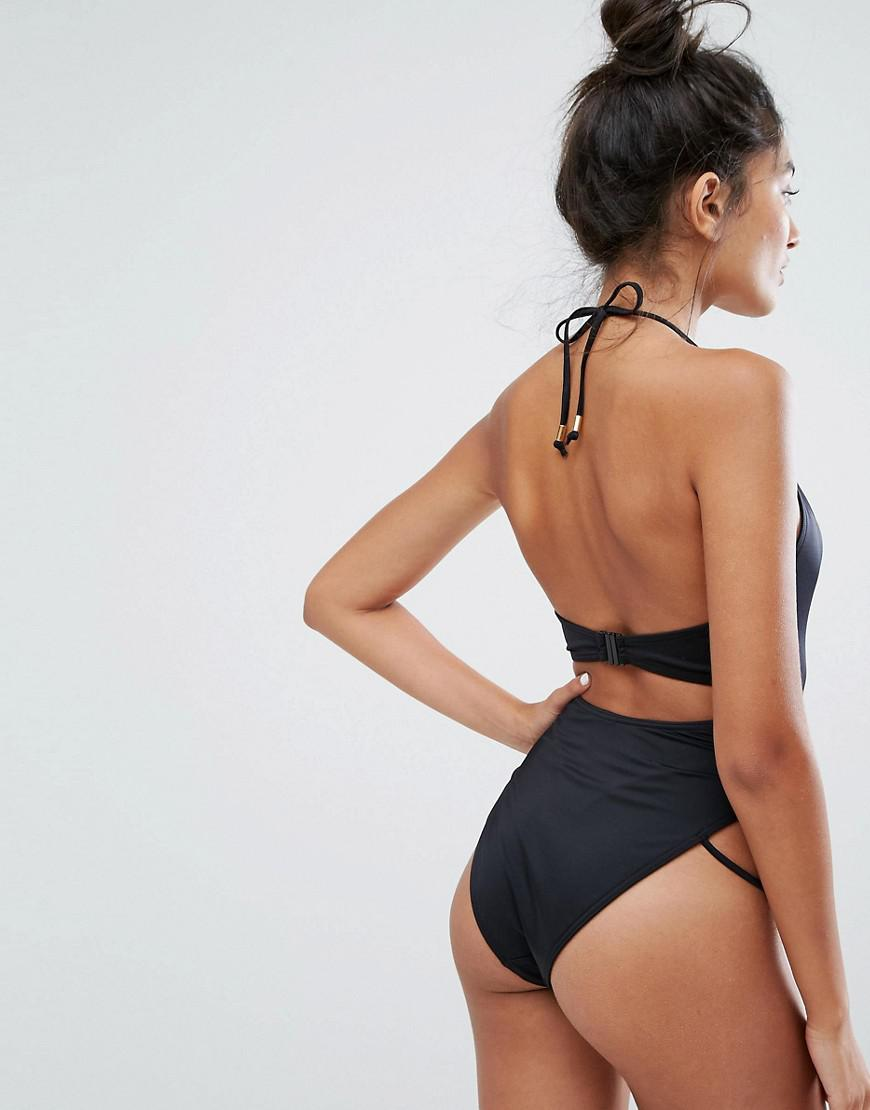 007318741ce New Look Ladder Front Swimsuit in Black - Lyst
