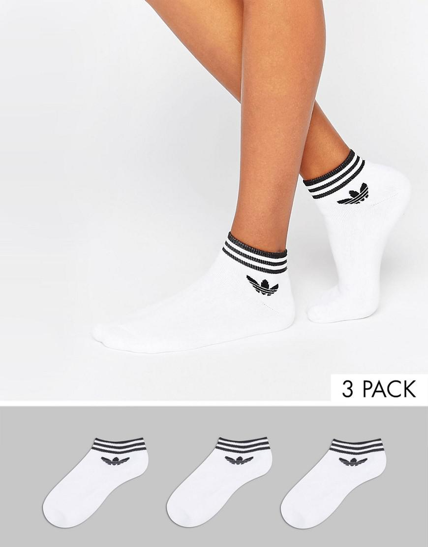 4aa1e8ff9 adidas Originals Originals 3 Pack White Ankle Socks With Trefoil ...