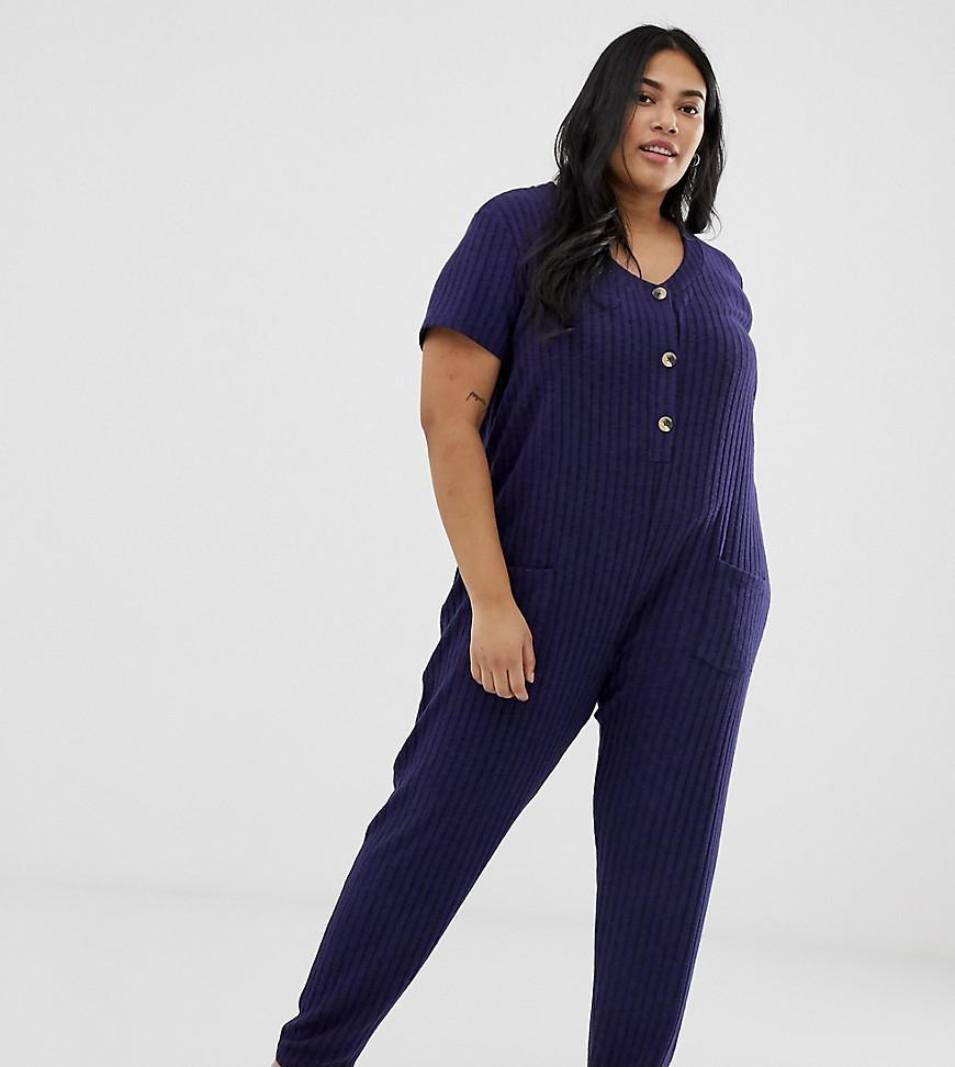 764616d6a191 ASOS. Women s Blue Asos Design Curve Lounge Super Soft Rib Button Jumpsuit