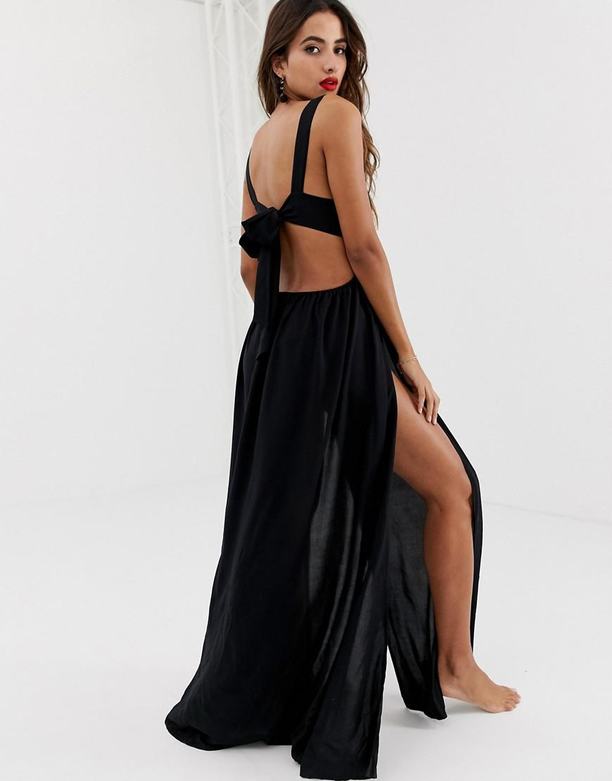 a243aac9cdcc3 ASOS Tie Back Cross Front Split Maxi Beach Dress In Black in Black - Lyst