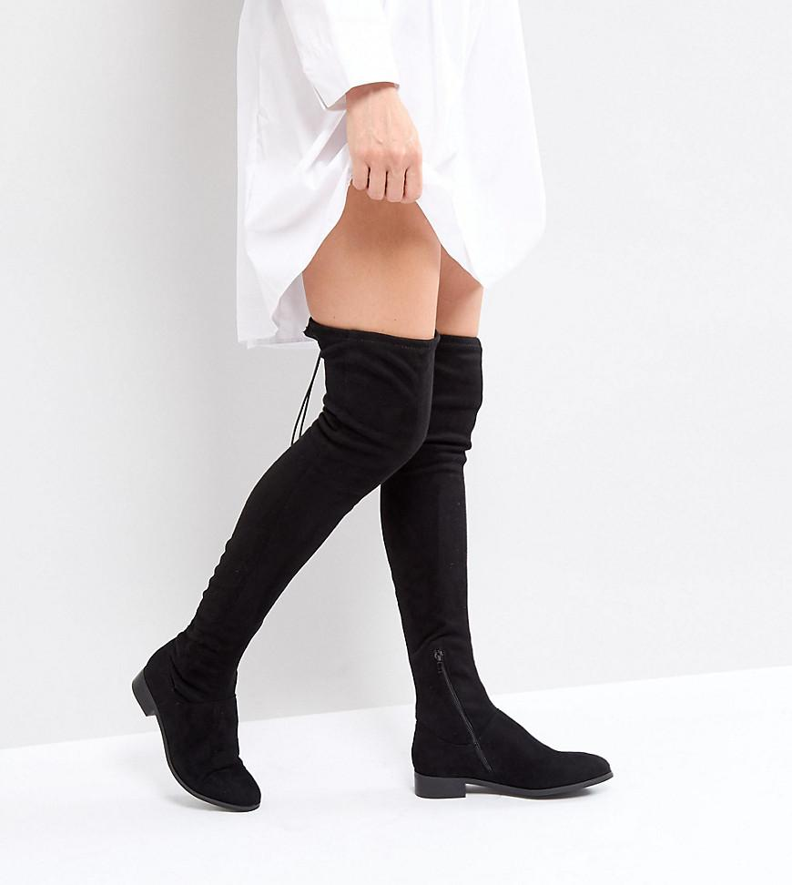 2b91db23a27 Asos Keep Up Tall Flat Over The Knee Boots in Black - Save 25.0% - Lyst