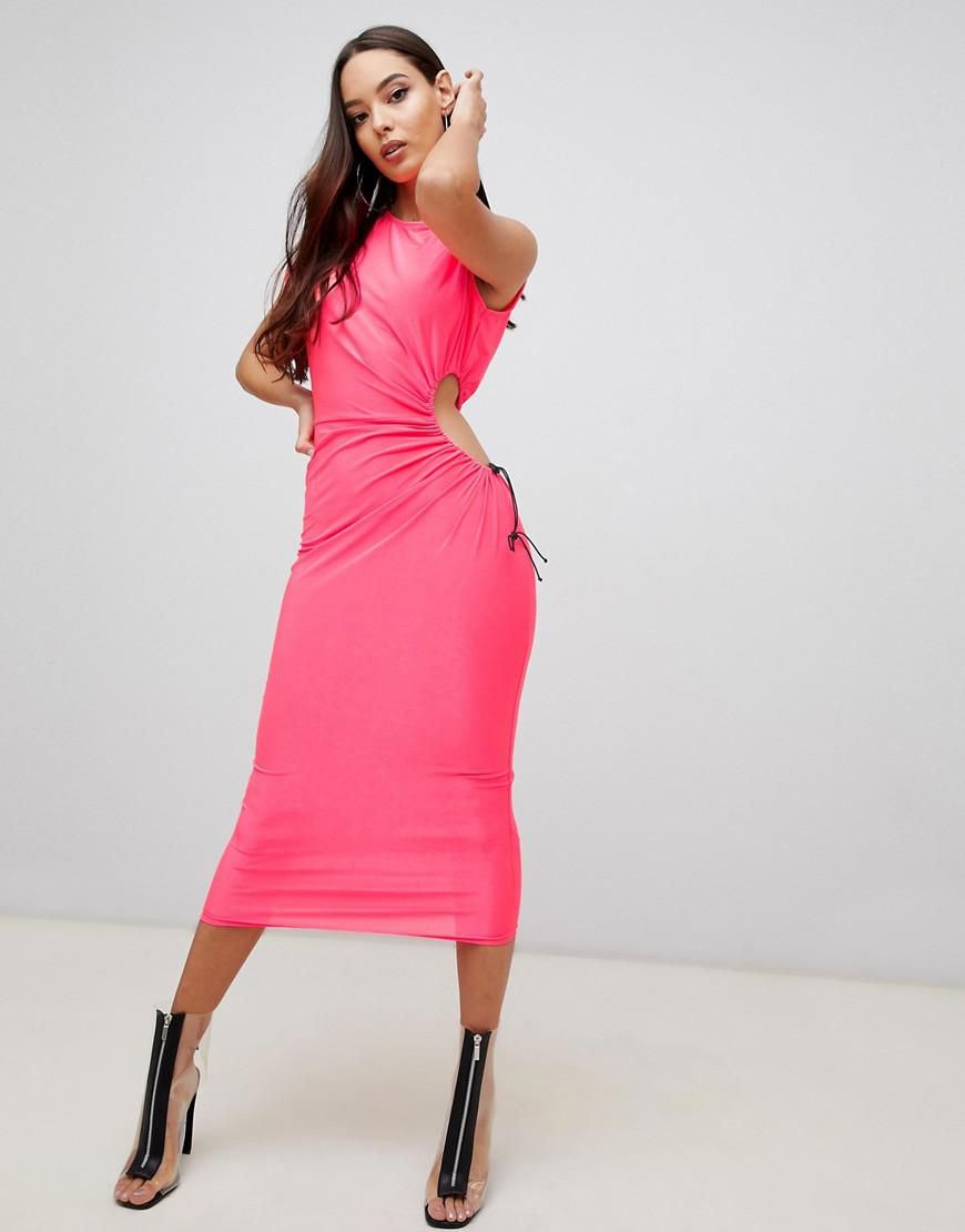 ff981a38289 ASOS Midi Neon Dress With Open Side in Pink - Lyst