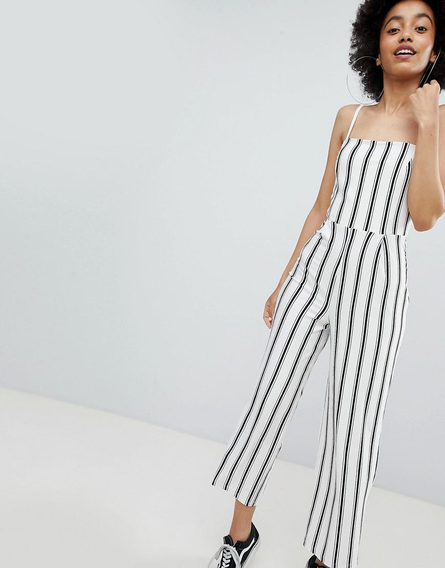 d380fcfc017 Lyst - Bershka Stripe Wide Leg Jumpsuit In Cream in White