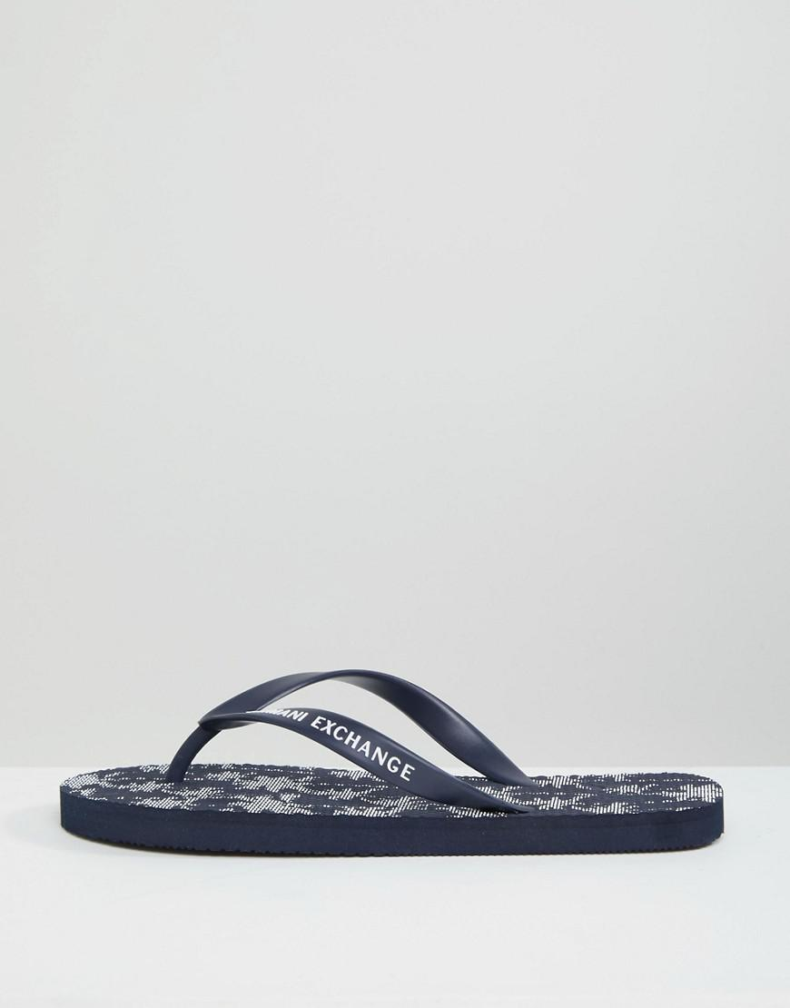 e4e907fe6a4b Armani Exchange Palm Print Flip Flop In Navy in Blue for Men - Lyst