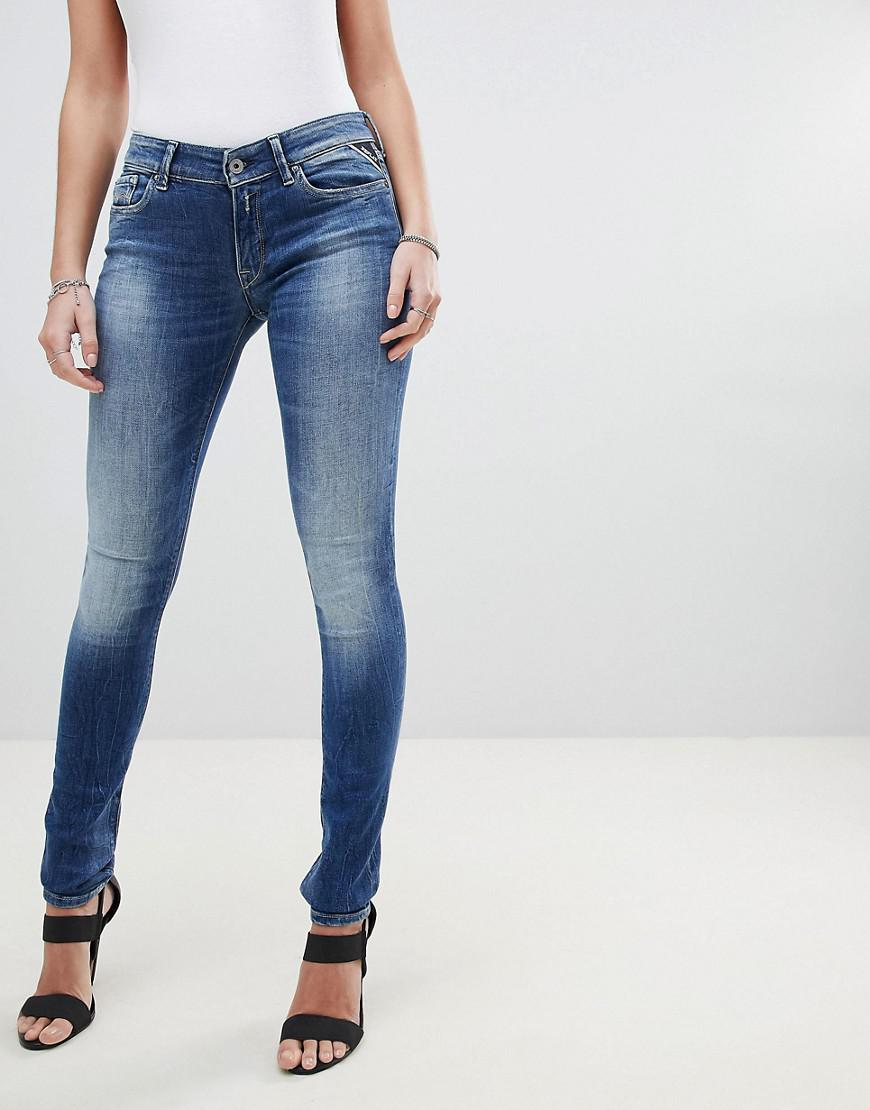 e8c786d018fc Replay Luz Skinny Jeans in Blue - Lyst