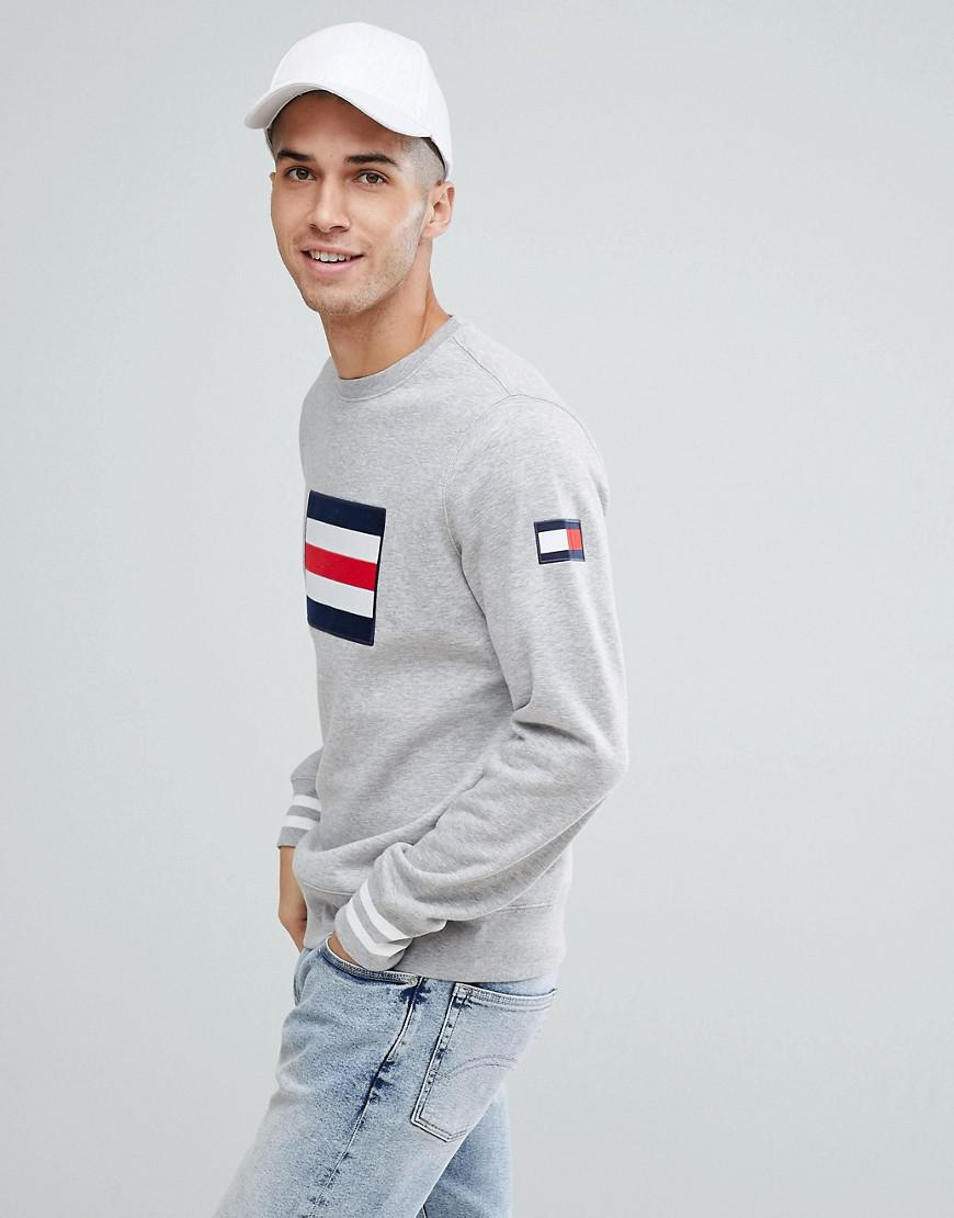 766201ad3 Lyst - Tommy Hilfiger Ramone Large Icon Flag Sweatshirt In Grey Marl ...